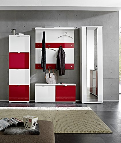 Germania 8817-84 12-tlg. Garderoben-Set Colorado in Weiß/Rot, 240 x 199 x 34 cm (BxHxT)