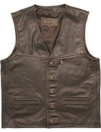 Chaleco de piel para hombre de Fuente, ideal para moteros, en marrón o verde, tamaños grandes