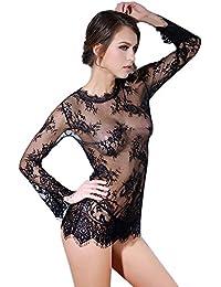 Ularma Vestido de encaje de mujeres tanga ropa interior ropa de dormir