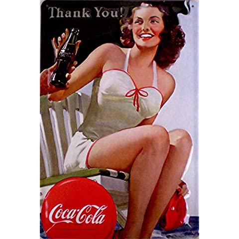 Coca Cola Thank You! targa in latta con signora - cartello in metallo 20 x 30 cm