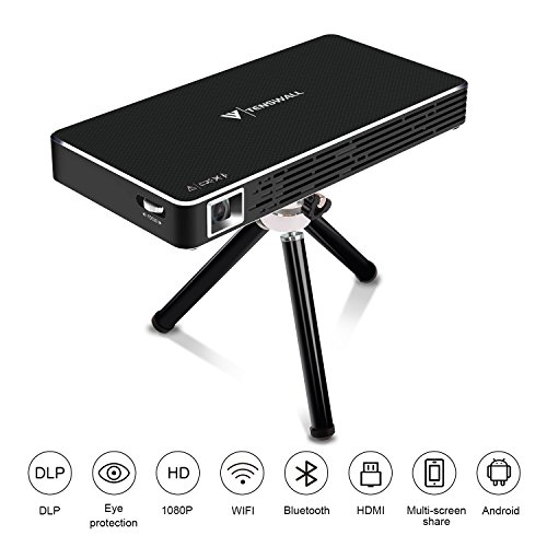 Mini Proyector, Tenswall Portátil DLP Video Proyectors Android 7.1 Pico Projector 1080P Full HD Home Cinema, Entrada HDMI a Su Ordenador Portátil/PC/PS4, Conectividad Inalámbrica Bluetooth Wi-Fi