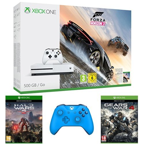 Pack Console Xbox One S 500 Go + Forza Horizon 3 + Halo Wars 2 + Gears of War 4 + Manette Xbox One sans fil – bleu