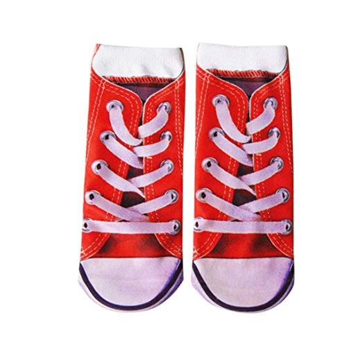 Hot. Athletic Socken, ninasill Mann 3D Damen bedruckte Funny Crazy Neuheit Low Cut PED Cute Athletic Socken Free Size rot (Peds Crew Socken)
