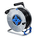 AS Schwabe 10319 - Carrete alargador de cable (50 m, diámetro de 285 mm, H05VV-F 3G1,5, IP20 en interiores), color negro