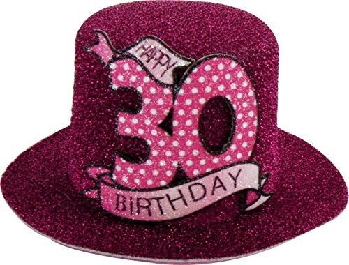Geburtstag Hut mit Clip 30 Party Deko Spaß Hutzylinder in pink Happy 30 Birthday 12x11x6 cm