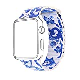 Apple Watch Band, Bandmax Lederarmband mit Magnetverschluss Chinoiserie Porzellan Design...