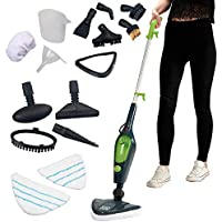 Easy Steam Multi Steam Mop, Power Hand Held 10 in 1 Cleaner for Hardwood Floors, Laminate, & Carpets with 10 Attachments & 2 Microfibre Pads (Steam Mop)