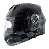 TORC T27B Full Face Modular Motorcycle Helmet Integrated Blinc Bluetooth With Graphic (Checker)
