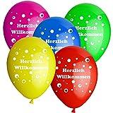 10 Luftballons Herzlich Willkommen D: 30 cm bunt gemsicht
