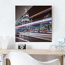 Bilderwelten Cuadro de cristal - Madrid Traffic - Formato Cuadrado 1:1, mural acristalado,mural de pared,decoración para pared,decoración,cristal,impresión en cristal,mural de pared de cristal,fotomural de cristal, Tamaño: 50cm x 50cm