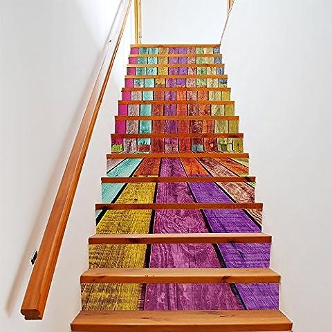 Buluke 13 pcs/antik Holzdesign mit bunten Streifen Treppe Aufkleber Set