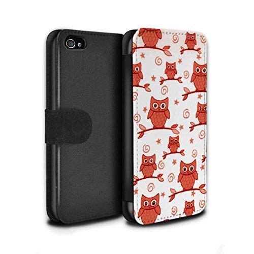 Stuff4 Coque/Etui/Housse Cuir PU Case/Cover pour Apple iPhone 4/4S / Pack (11 pcs) Design / Motif Hibou Collection Rouge/Blanc