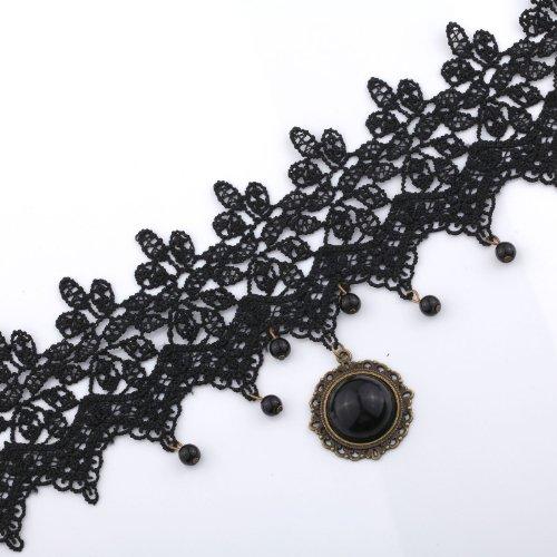 YAZILIND  Collar Gothic/Victorian Style Lolita Beads Tassel Stone Black Choker Necklace Punk
