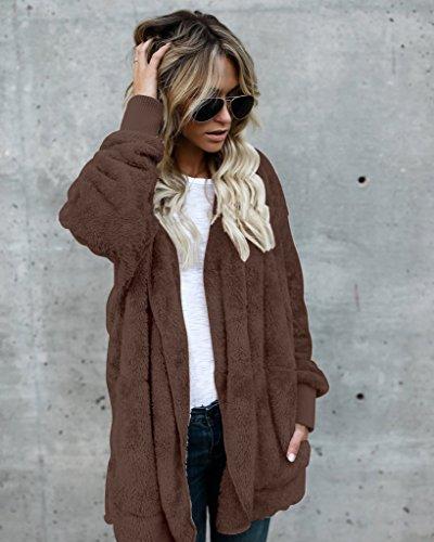 Donna Inverno Giacche Capispalla Cappotti Elegante Di Modo Stile Di Strada Cardigan Caldo Maglione Felpe Con Cappuccio Caffè