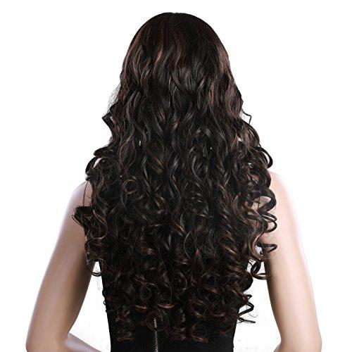 SONGMICS Longitud de 68 cm Peluca con cabello largo y rizado Peluca para mujeres con vereda media Cabello sintético de reemplazo para Disfraz Fiestas Carnaval WWG03BC