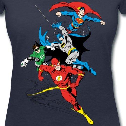 DC Comics Originals Justice League Rétro T-shirt col V Femme de Spreadshirt® Bleu Marine