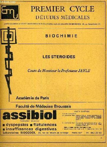 PREMIER CYCLE D'ETUDES MEDICALES - BIOCHIMIE - LES STEROIDES.