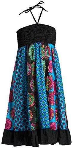 ufash Patchwork Sommerkleid mit elastischem Bund, auch als Maxirock verwendbar - Goa Gipsy Hippie-Rock, Blau - Stufenrock Kleid