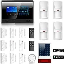 Eray M2BX Sistema de Alarma LCD Pantalla de Menú en Castellano GSM/ SMS Llamadas 6 Teléfonos Diferentes Solar Sirena Inalámbrica para Exteriores Sistema de Seguridad para el Hogar, Pila Incluida