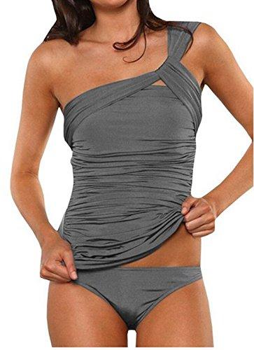 ASSKDAN Damen Sexy Drucken Neckholder Tankini Badeanzug Hot Frauen Streifen Rückenfrei Monokini Raffinerten Bademode (M, Grau)