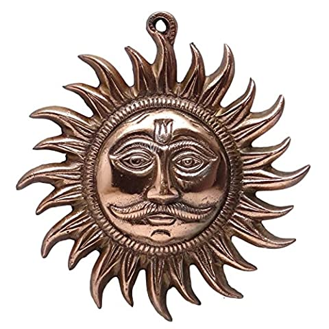 Indian Ethnic Copper Tone Sun Wall Hanging Metal Art Decor Sculpture