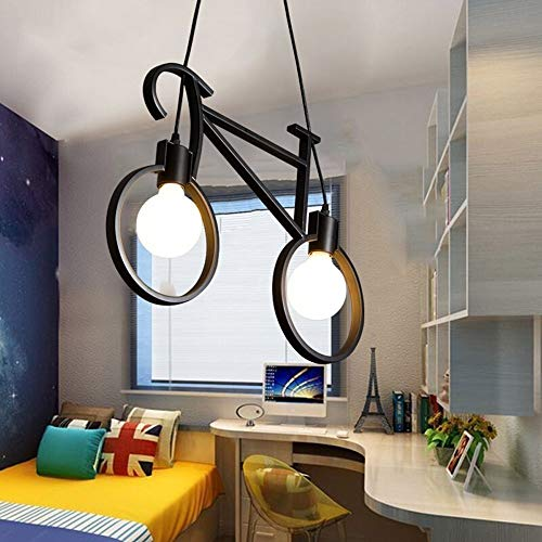Araña creativa Bicicleta Lámpara de mesa de diseño Restaurante Escandinavo Americano Estudio Dormitorio Habitación para niños Dibujos animados Bar Azulejo Decoración Luces Luces Pendulum E27, Negro