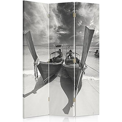 Feeby Frames Biombo impreso sobre lona, tabique decorativo para habitaciones, a doble cara, de 3 piezas, 360° (110x180 cm), PAISAJE, VISTA, AMARRADO BARCOS, MAR, PLAYA, NEGRO Y BLANCO