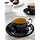 Black Handpainted Cup & Saucer (Set of 6)