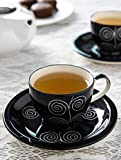 #4: KITTENS Ceramic Handpainted Cup and Saucer, 150ml, Black (Set of 6)