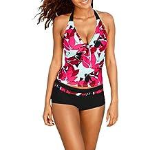 Conjuntos de mujer Tankini Traje de baño para mujer Bikini de mujer Sexy Floral Impresión Dos piezas Talla extra Playa de arena Ropa de playa Monokini Sujetador push-up acolchado Mono LMMVP (M, Rojo)
