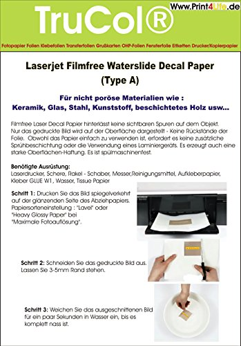 10 Blatt Wasserschiebefolie Decal Papier Transfer Folie DIN A4 transparent für Laserdrucker Kopierer (nur der Druck Wird übertragen - Keine Folie) für Glatte/Nicht poröse Materialien