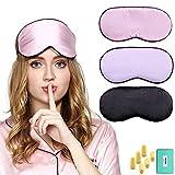 3 Stück Schlafmasken Seidenschlafmaske, Augenmaske für Reisen mit kostenlosem Ohrstöpsel und verstellbarem Band für Männer und Frauen Augenmasken von fani (Schwarz+Pink+Lavendel)