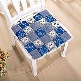 Edhua Cuscinetti di Seduta Quadrati in Cotone,Cuscini per sedie Floreali in Pizzo per Home Office (40X40CM)