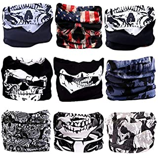 9PCS Bandanas Headband Scarf Headwrap Face Mask Neckwarmer Seamless & more 12-in-1 Multifunctional Stretchable for Music Festivals, Raves, Riding, Outdoors - Many Designs (Skull Series 1)