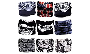 SoJourner Bags 9PCS Bandanas Headband Scarf Headwrap Face Mask Neckwarmer Seamless & more 12-in-1 Multifunctional Stretchable for Music Festivals, Raves, Riding, Outdoors