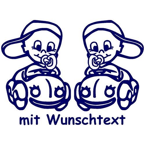 Preisvergleich Produktbild Babyaufkleber für Zwillinge mit Wunschtext - Motiv Z36-JJ (16 cm)