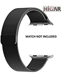 HIGAR Stainless Steel Milanese Loop Replacement Strap with Magnetic Lock for Apple Watch 38mm - Black [*Watch NOT Included*]