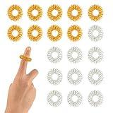 FEPITO 20 Paquetes Anillo Masaje Dedos, Anillos de dedo sensoriales de punta, Juego de anillos de acupresión en los dedos Juguete sensorial Fidget Para niños adolescentes adultos, 2 colores