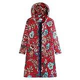FNKDOR Manteau à Capuche Femmes Grande Taille Hiver Chaud Veste en Coton Lâche Poches Rétro Fleurs Impression Plus épais Hasp Outwear Pas Cher(E-Rouge,4XL=FR(46))