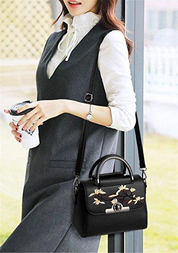 Xinmaoyuan borse Donna Donna ricamo borsetta Pu borsa Messenger Nero