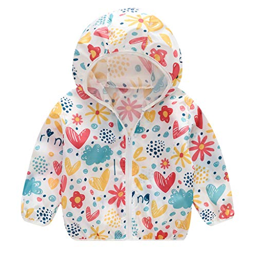 en Jungen Floral Bedruckter Frühling mit Kapuze Licht Mantel Reißverschluss Jacke Tops Sonnenschutz Kleidung 1-6 Jahre ()