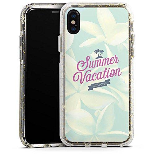 Apple iPhone 8 Bumper Hülle Bumper Case Glitzer Hülle Sommer Summer Urlaub Bumper Case Glitzer gold