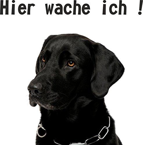 Hundeschild Hier wache ich Labrador schwarz (Hundefutter Aufkleber)