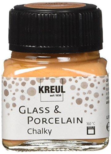 Kreul 16633 - Glass und Porcelain Chalky, sanft - matte Glas- und Porzellanmalfarbe auf Wasserbasis, schnelltrocknend, deckend, 20 ml Glas, Terracotta Earth