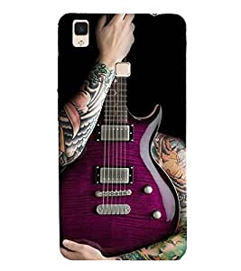 Fiobs Designer Back Case Cover for Vivo V3 Max (Guitar Symbol Music Sangeet Cool)