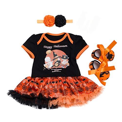 Riou Halloween Kostüm Mädchen Kürbis Kostüm Kleinkind Baby Kinder Mädchen Karneval Fasching Halloween Pumpkin Printed Strampler + Tutu Tüll Rock + Haarband + Schuhe Outfits Set (80, - Minion Kostüm Für 1 Jahr Alt