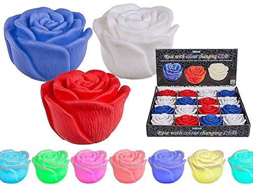 Rose en plastique avec couleur changeante LED (avec piles) env. 7 x 5 cm