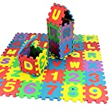 Soteer 36 Stück Baby Spielmatte Buchstaben und Zahlen Ungiftig Eva-Schaumstoff-Matte Lernteppich Kinder Spielzeug 5 x 5cm Pro Stück
