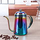 KITCHY 1PC 650ml Vintage Coffee Pot Swan Neck Mouth Stainless Steel Coffee Kettle Drip Coffee Maker Pot Plating Colorful Coffeeware: Rainbow