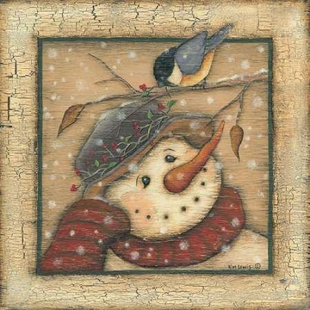 Feeling-at-home-Kunstdruck-Snowman-I-cm60x60-Poster-fuer-Rahmen